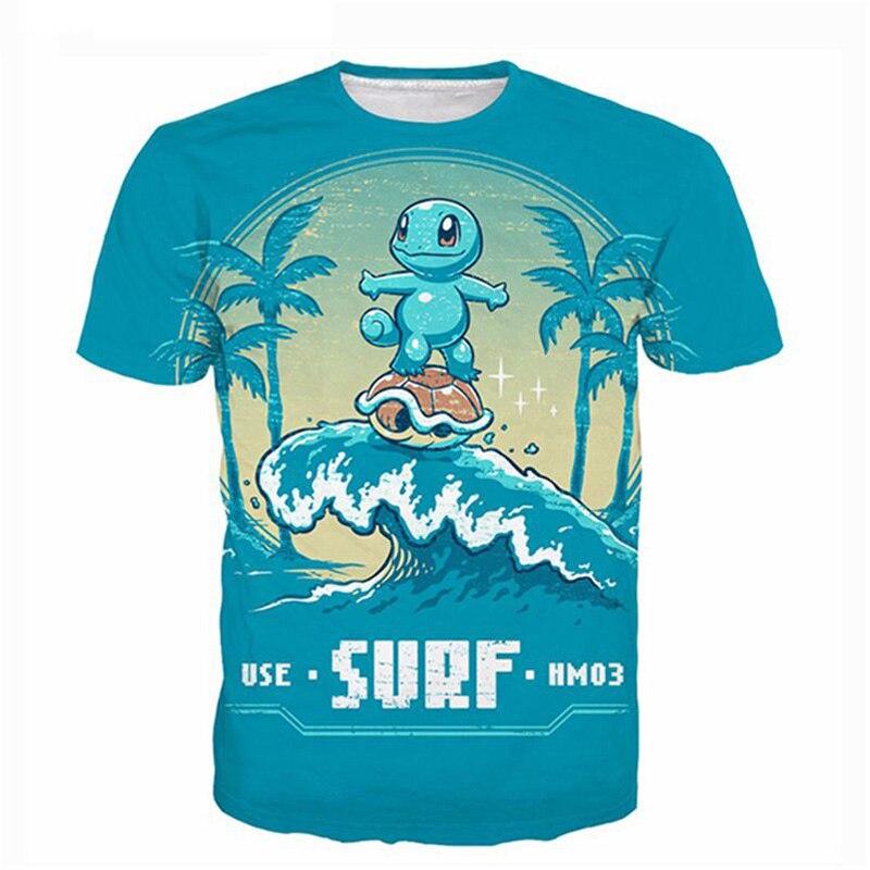 Squirtle Pokemon bonito T Shirt Homens Mulheres 3D Impressão Moda Hip Hop Tops Dos Desenhos Animados Camisetas T-shirt Camisa Hombre 5XL Poleras dropship
