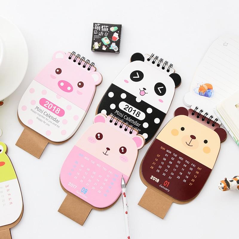 Diy Mini Calendar : Year new cat panda diy cartoon mini desktop paper