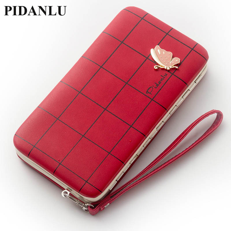 2017 Brand Leather Phone Wallets Women Purses Long Butterfly Red Coin Wallets Money Bags Credit Card Holders Clutch Bags Female