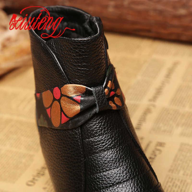 Xiuteng Marka Hakiki Deri Kadın Çizmeler Kış sıcak Kısa yarım çizmeler Artı Boyutu Platformu Tek Daireler Martin Ayakkabı Kadın Botas