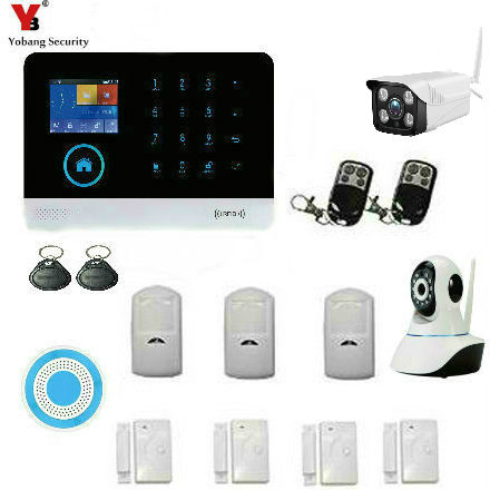 YoBang Security Wireless Burglar Alarm System GSM Wireless Home Burglar Alarm Security System With Outdoor Flashing Light Sirens