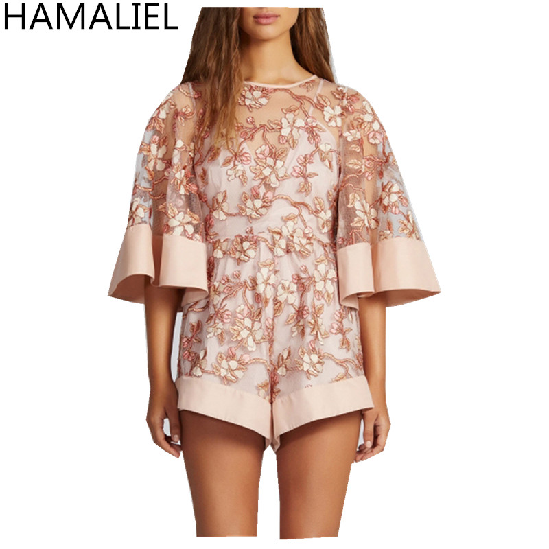 HAMALIEL Luxury Summer Women Beach Jumpsuit Romper 2018 Fashion Sexy Embroidery Lace Hollow Out Flare Sleeve Lady Playsuits