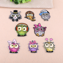 Owl Embroidered Patches for Clothing DIY Stripes Applique Clothes Stickers Iron on Creative Badges Biker Parches