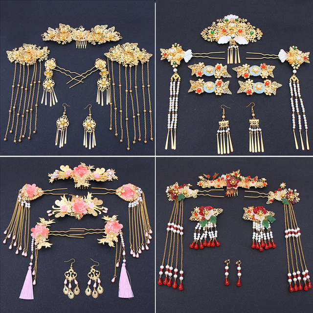 Chinese show and Hanfu bridal tiara suit tassels Feng Guanxia hair accessories wedding red costume show