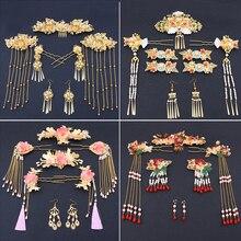 Китайская Тиара для свадебной церемонии Hanfu с кисточками, аксессуары для волос Фэн гуанься, свадебный красный костюм для шоу