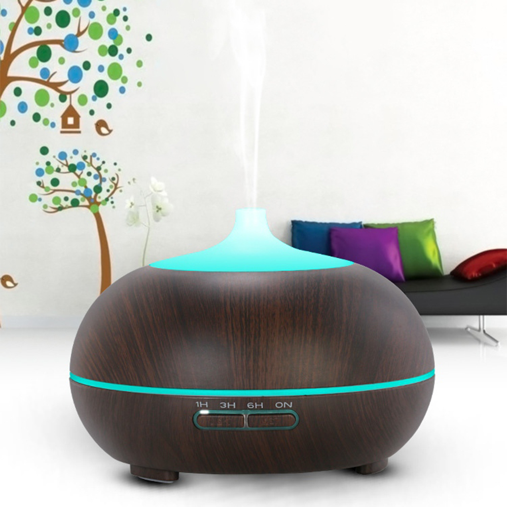 Ultrasonic Air Aroma Humidifier Purifier 300ML Wood Grain 7 Color Changing LED Light Mist Maker Fogger Essentail Oil Diffuser