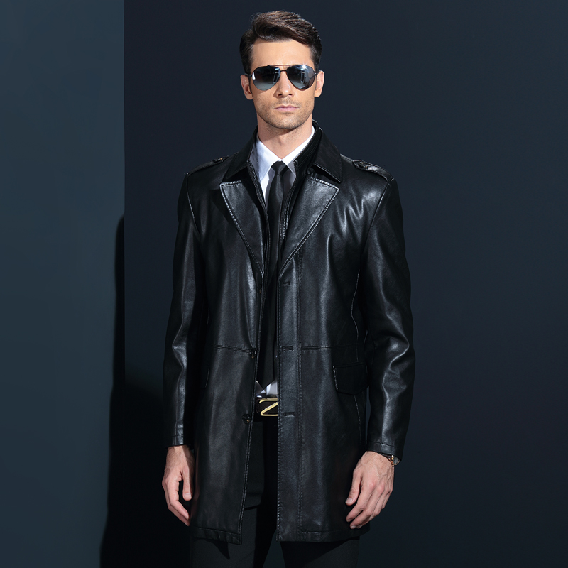 Winter Men Pu Leather Long Jackets Business Casual Turn-Collar Thick Outwear Jackets And Coats Chaqueta Cuero Hombre