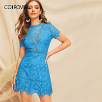 COLROVIE Blue Solid Open Back Guipure Lace Boho Sexy Dress Women 2019 Summer Short Sleeve Button Back Beach Short Dress For Lady