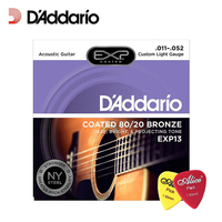 D'Addario Daddario EXP13 with NY Steel 80/20 Bronze Acoustic Guitar Strings,Coated, Custom Light, 11 52 (With 2pcs picks)