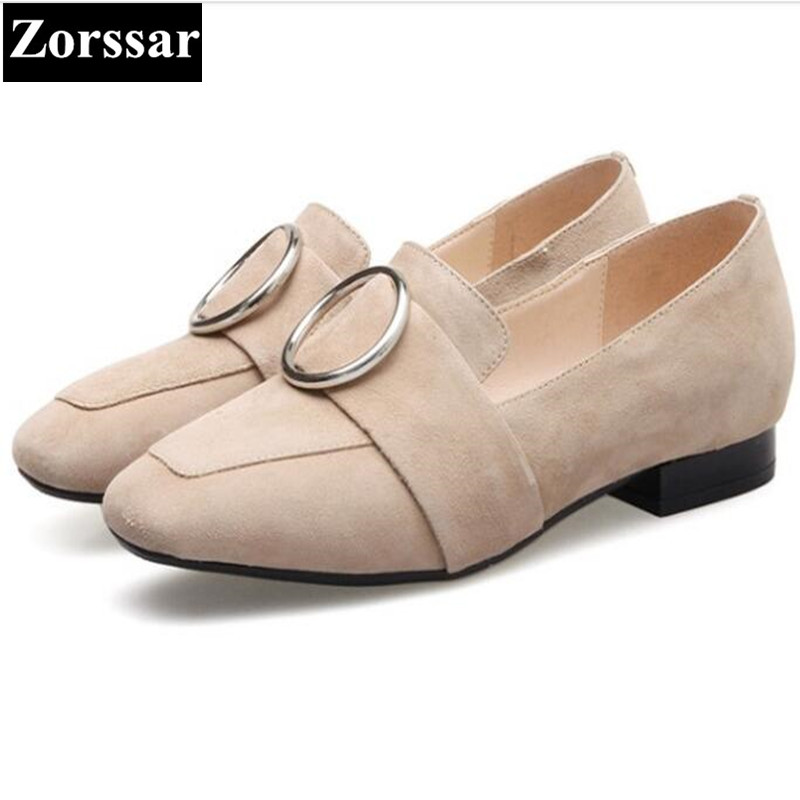 купить {Zorssar} Fashion Buckle decorative suede leather Womens flats casual shoes slip on women flat heel square toe shoes дешево