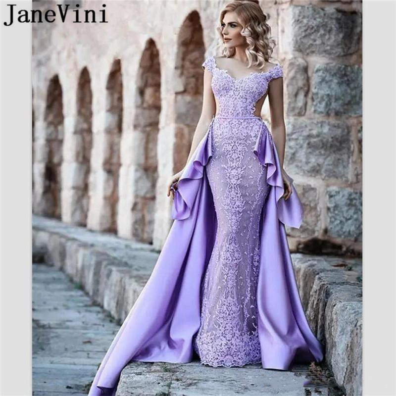 JaneVini Elegant Saudi Arabia Lace Long   Prom     Dresses   with Detachable Train V Neck Mermaid   Prom     Dress   Woman Backless Galajurken