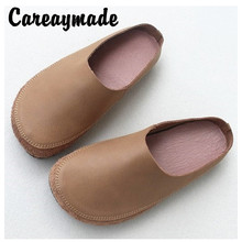 Careaymade-Genuine leather  round head retro grandmother shoes literary and artistic model slippers pure handmade