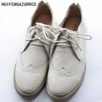 HUIFENGAZURRCS New Coming European College Style Retro Flat Shoes Round Lace Leather Shoes Female Carved Leather