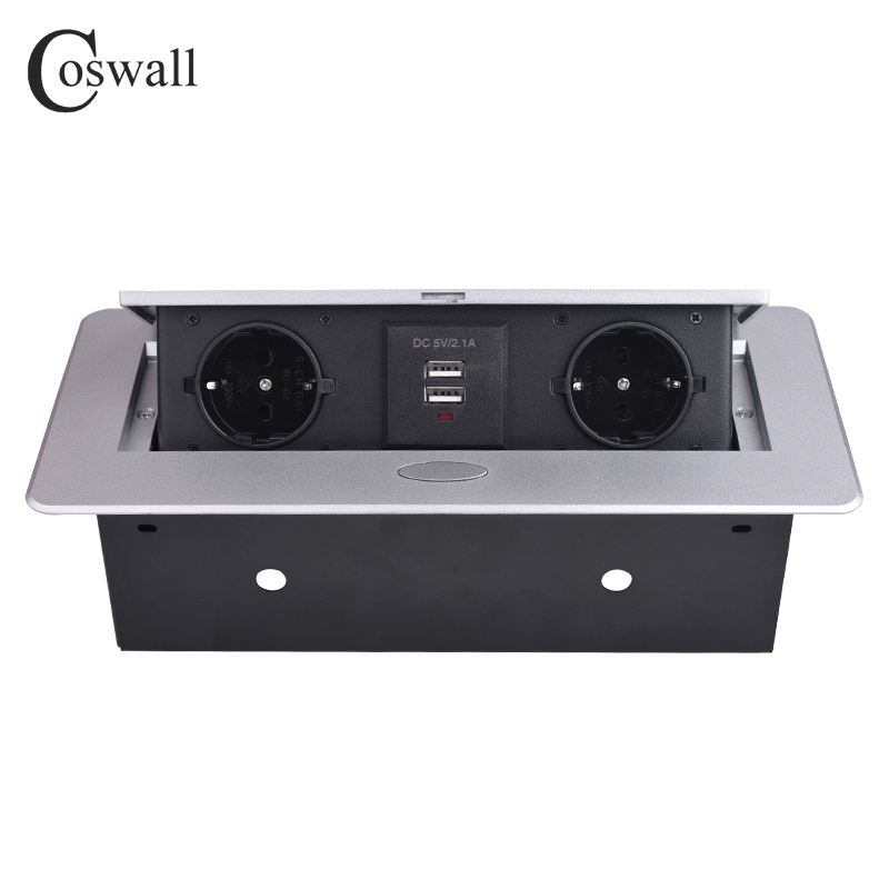 COSWALL Zinc Alloy Plate 16A Slow POP UP 2 Power EU Socket Dual USB Charge Port 2.1A Office Table Desktop Outlet Black Steel Box