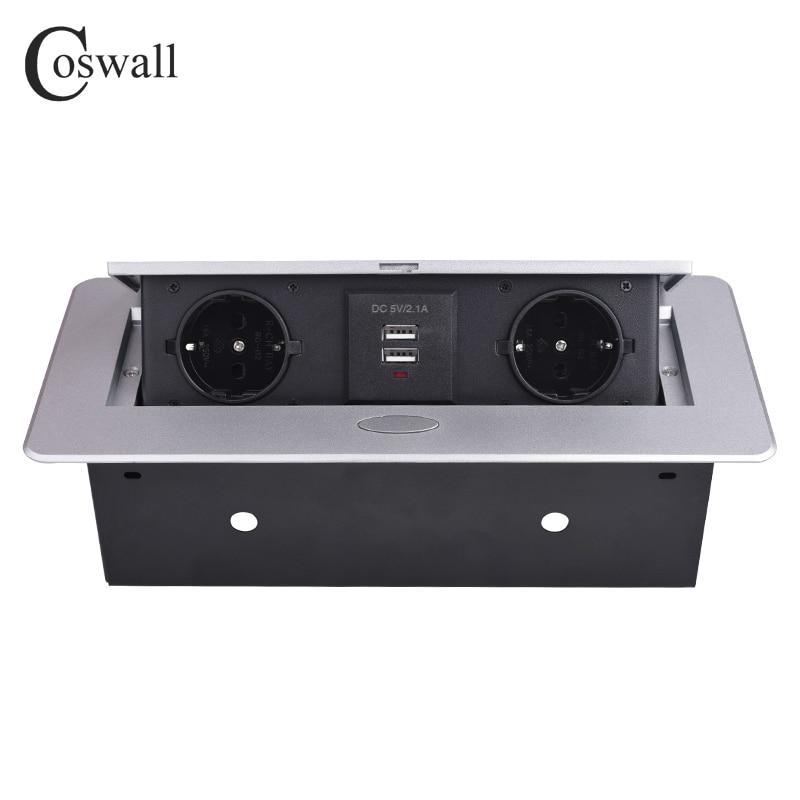 COSWALL Zinc Alloy Plate 16A Slow POP UP 2 Power EU Socket Dual USB Charge Port 2.1A Office Table Desktop Outlet Black Steel Box
