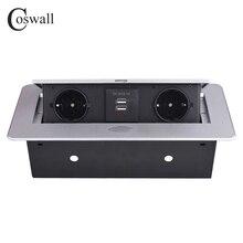 Coswall Zinklegering Plaat 16A Slow Pop Up 2 Power Eu Socket Dual Usb Lading Poort 2.1A Kantoor Tafel Desktop outlet Zwart Staal Doos