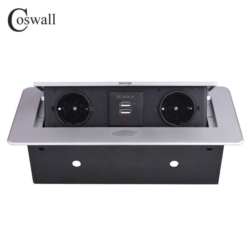Coswall placa de liga zinco 16a lento pop up 2 tomada de energia da ue dupla porta carga usb 2.1a mesa escritório tomada de mesa caixa aço preto