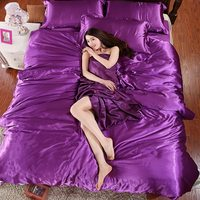 2016HOT 100 Pure Satin Silk Bedding Set Home Textile King Size Bed Set Bedclothes Duvet Cover