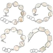 TUMBEELLUWA White Abalone Shell Sliver Plated Bracelet for Women ,Adjustable Link Bangle Assorted Shapes Fashion Jewelry