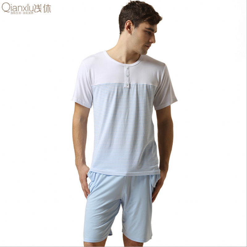 Men's Pajama Sets Underwear & Sleepwears Cooperative Special Price 2019 Summer Mens Casual Striped Pajama Sets Men Short Sleeve T Shirt & Half Pants Male Soft Cotton Sleepwear Suit