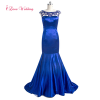 Sexy Backless Evening Dress Scoop Neckline Cap Sleeve Royal Blue Party Dresses Mermaid Cut Dress Vestido