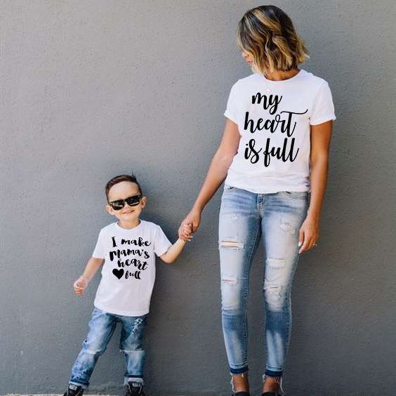 1pcs My Heart Is Full I Make Mama's Heart Full Tee Mommy&Me T-Shirts Mom And Son Short Sleeve T Shirt Family Matching Shirt
