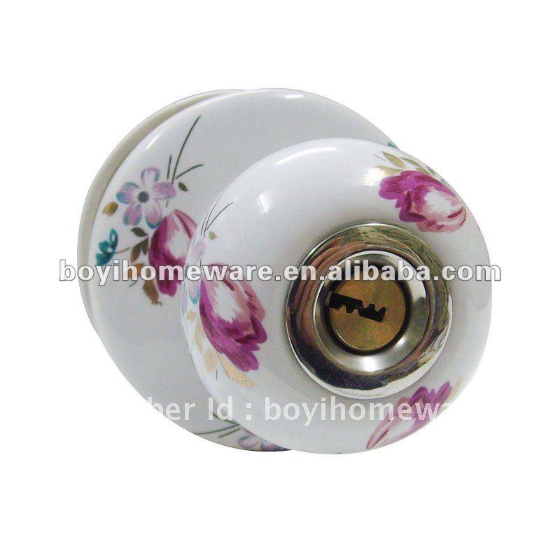 Child-proof China Door locks Door furniture accessories Indoor hardware Ceramic knob bolt/latch locks Rural style S-001