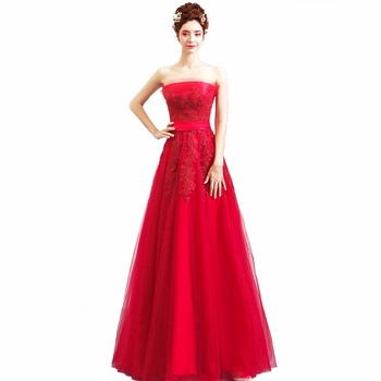 Lace Bow Strapless Voile New Women's Elegant Long Gown Party Proms For Gratuating Date Ceremony Gala Evenings Dresses Up46