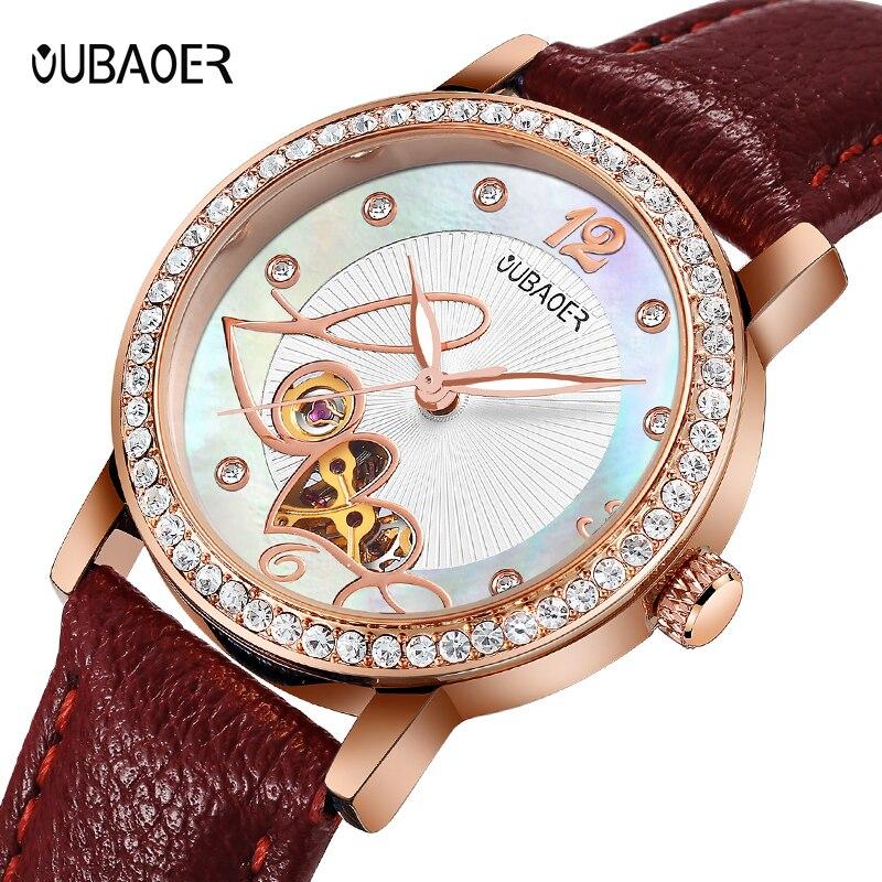 Mulheres wtches mecânicos assistir OUBAOER senhoras de couro moda casual simples relógio Automático presente Reloj Mujer relogio femininos