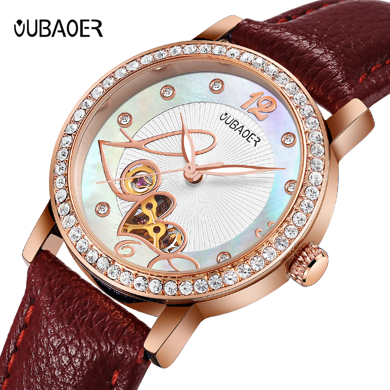 Women wtches mechanical watch OUBAOER leather ladies simple fashion casual Automatic clock relogio femininos gift Reloj Mujer