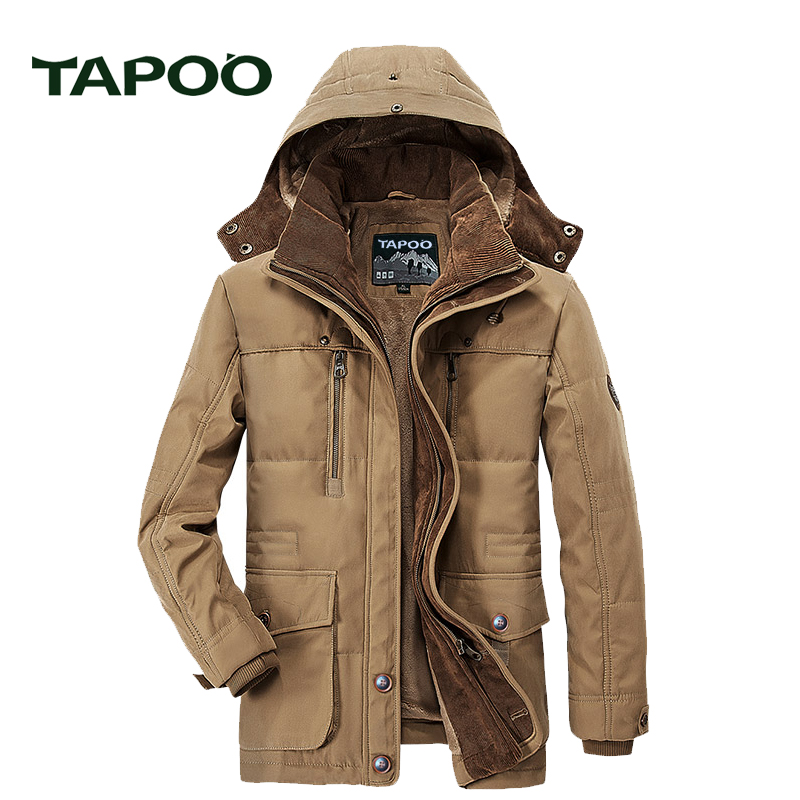 Men's Winter Jackets Military Hooded Warm Windbreaker Jacket Long Parka TAPOO Original Brand Outwear Fashion Coat For Men828