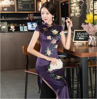 Новое поступление Китайская вышивка долго Cheongsam модные женские туфли район платье тонкий Qipao Vestido Размеры размеры s m l xl XXL, XXXL 4XL 27516A
