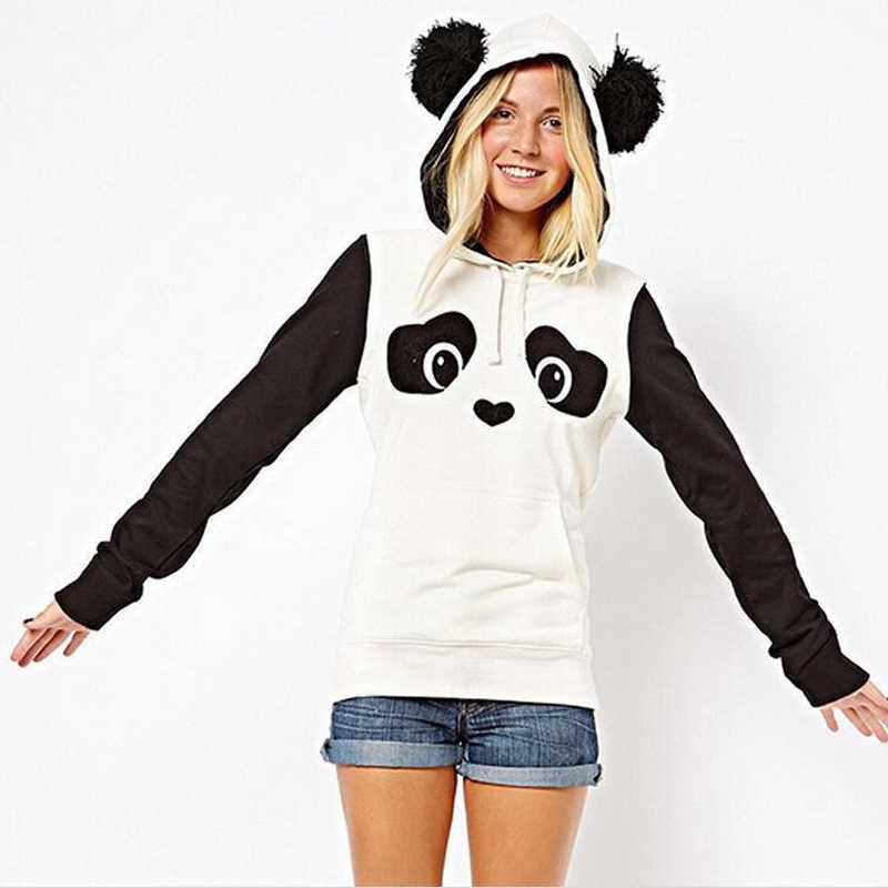 귀여운 팬더 인쇄 양털 흑백 대비 색 숙녀 스웨터 패션 캐주얼 만화 여성 운동복