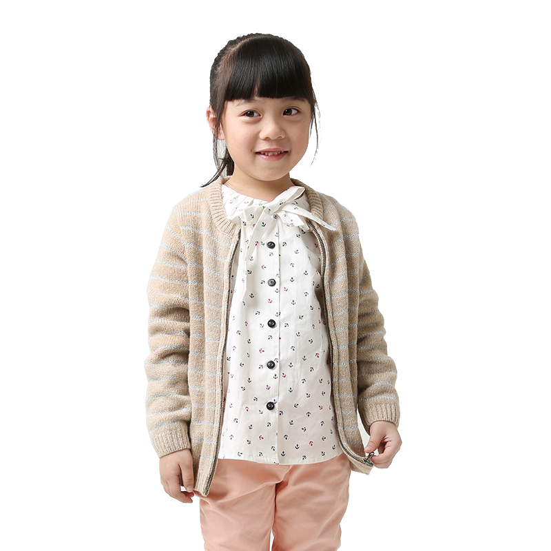 Girls Cardigans for girl wool sweater 2-8Y kids Cardigans for girls Apricot White stripe children knitwear cardigan clothing