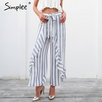 Simplee Stripe Ruffle Trousers Women Bottom Sash High Waist Wide Leg Pants Elastic Summer Beach Casual