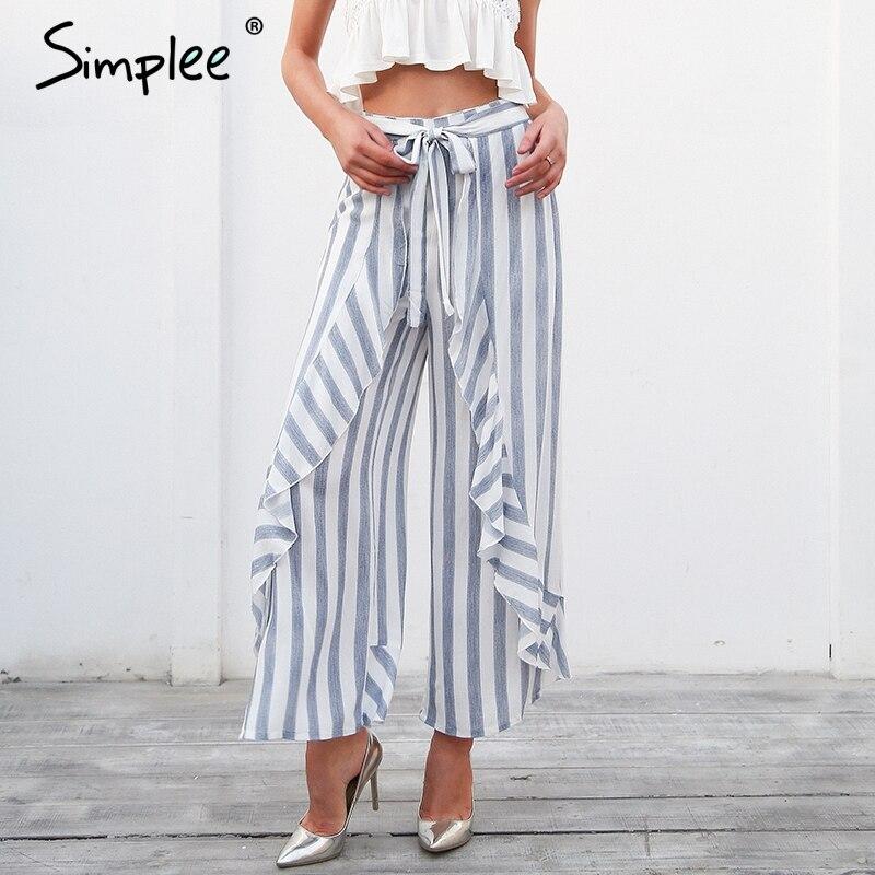 Simplee de dividir pantalones de pierna ancha de las mujeres Fondo faja de cintura alta pantalones de playa de verano Pantalones casuales Pantalones de mujer 2019