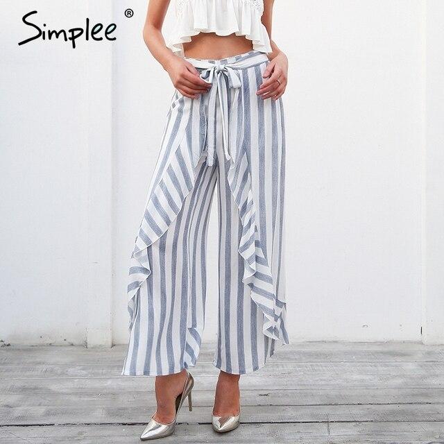 Simplee полоса Сплит Свободные Штаны женские нижней створки рюшами Высокая талия брюки летние пляжные повседневные штаны женские 2018