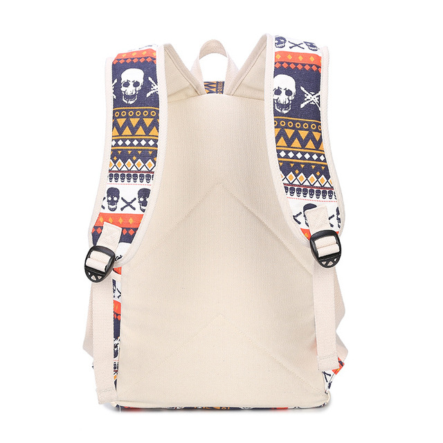 Printing Women Geometric Backpack Skull Canvas Bookbags Set Backpack School Bags for Teenage Girls 3
