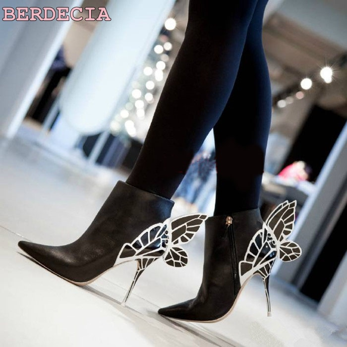 2017 new fashion Solid fantasy metal butterfly high heel boots runway pointed toe stiletto heel shoes short boots free shipping