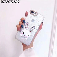 XINGDUO Glitter case cute rabbit ears Kickstand 2 in 1 cover for iphone 7 X XS XR 8 Plus Diamonds TPU soft shell 6