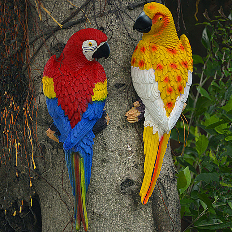 31 10 8cm big size resin parrot wall hanging decoration for Outdoor hanging ornaments