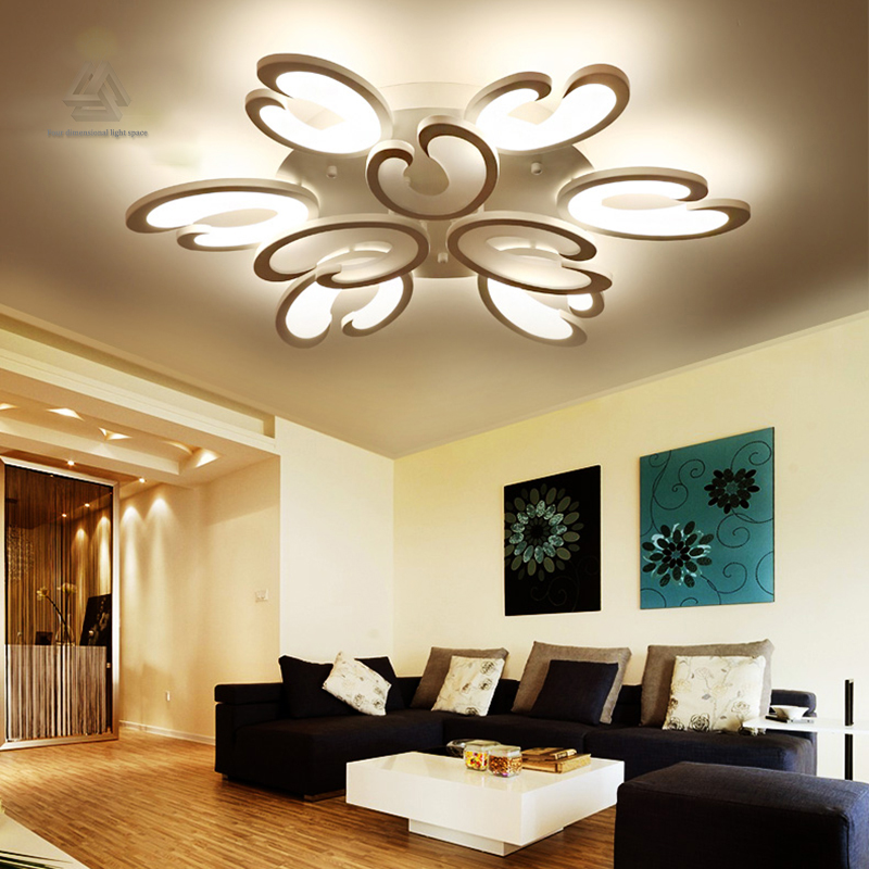 Buy white fashion flower modern led ceiling light living room rc dimmable Overhead lighting living room