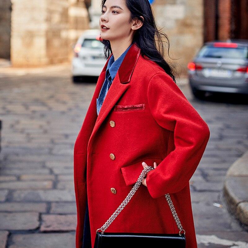 Poches Européen Red Nouveau Mélanges Rouge Hiver Laine Chic De Style Et Américain Manteau Longue Couleur Lâche Rue Haute La 7501 Femmes qwSUptXq