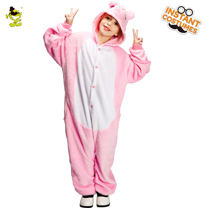 Kids Pig Pajamas Costume with Hooded Cosplay Halloween&Carnival Party Animal Pink Pajamas Fancy Dress Funny Pig Costumes