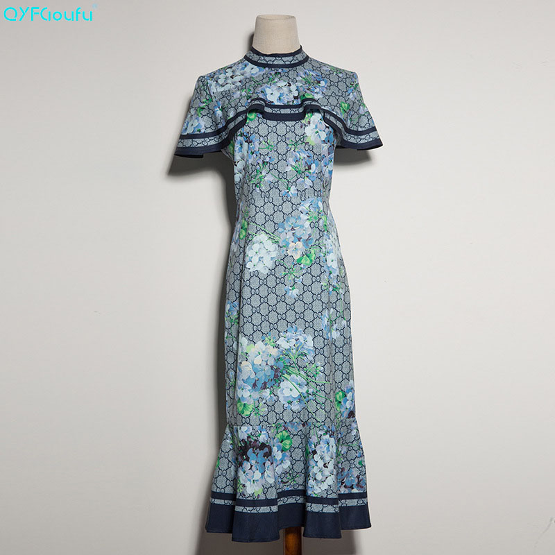 Здесь продается  QYFCIOUFU New 2018 Runway Designer Dress Summer Style Women Cloak sleeves Elegant Party Floral Print Mermaid Long Dresses  Одежда и аксессуары