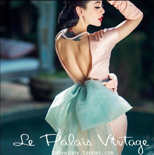 Élégant Vintage rose grand dos nageur nœud soies et Satins robe une pièce incarcéreurs Satin vert gaze couleur bloc mince robe