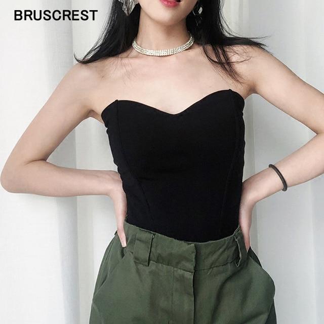 Nero bianco tubo top senza spalline top senza spalline shirt vintage senza maniche al largo della spalla crop top del tubo delle donne della camicia