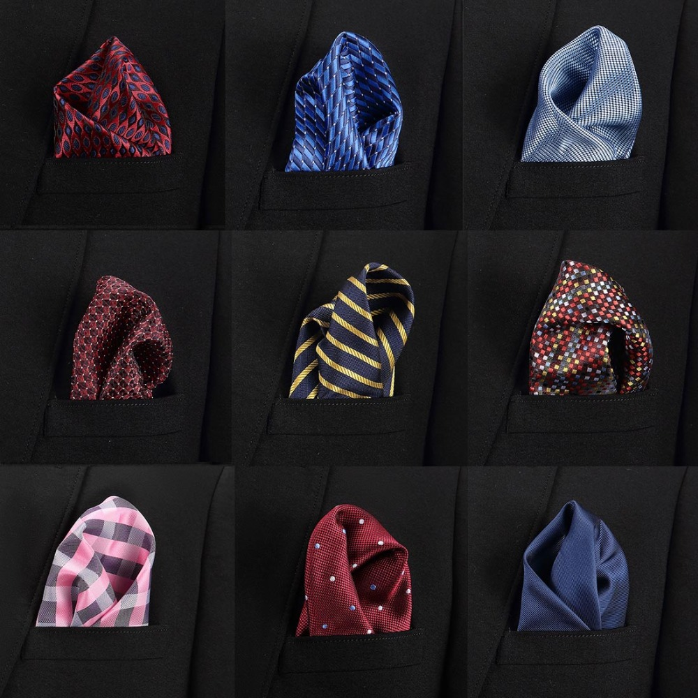 Paisley Floral Men Silk Satin Pocket Square Hanky Jacquard Woven Classic Wedding Party Handkerchief Vintage Dot Hankies