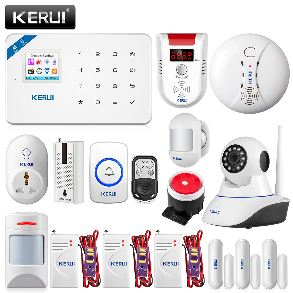 KERUI W18 WIFI GSM Security Alarm System APP Control Home PIR Motion Fire Protection With 720P WIFI IP Camera