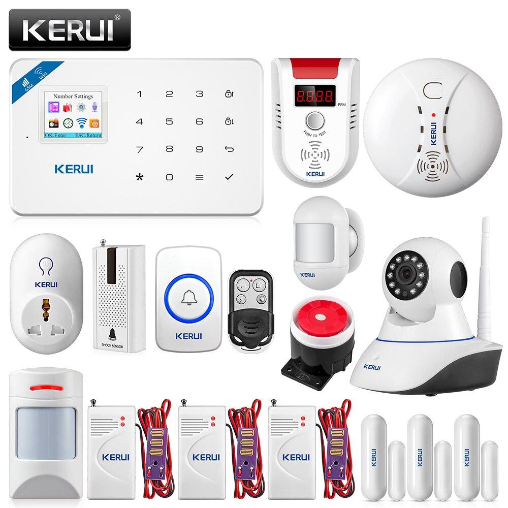 KERUI W18 WIFI GSM de Sécurité Système D'alarme APP Contrôle Accueil PIR D'incendie Mouvement Protection Avec 720 p WIFI Caméra IP